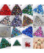 Mix Sizes Mix Shape Multi-Colored Glitter 3D Diamond Facet Flat Back Rhi... - $3.53