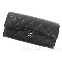 CHANEL Long Wallet Caviar Leather Black Matelasse CC A80758 France Authe... - $801.02