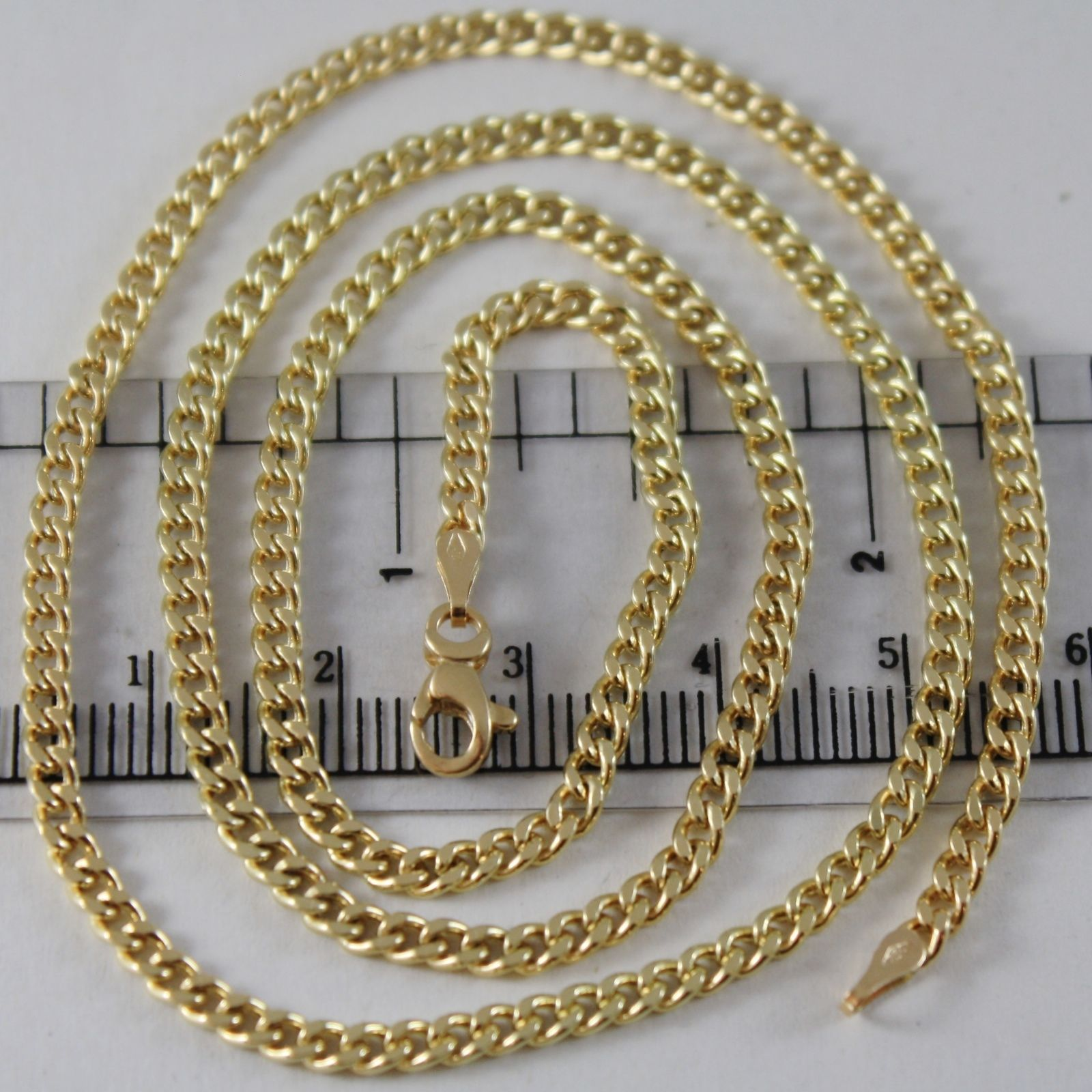 18K YELLOW GOLD CHAIN LITTLE GOURMETTE LINK 2.5 MM, 15.75 INCHES MADE IN ITALY