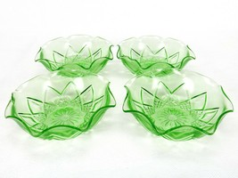 4 Crimped Dessert Bowls, Hazel Atlas Diamond Arches, Green Depression Glass - $19.55