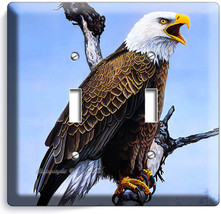 American Bald Eagle In The Wild Light Double Switch Wall Plates Home Room Decor - $10.79