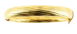 VINTAGE STERLING GOLD VERMEIL 11MM THICK SUBSTANTIAL BANGLE BRACELET ITA... - $125.99