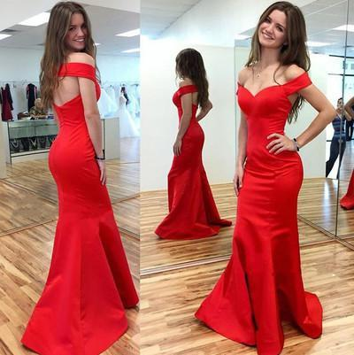 red Prom Dress,long Prom Dress,off shoulder Prom dress,mermaid prom Dresses