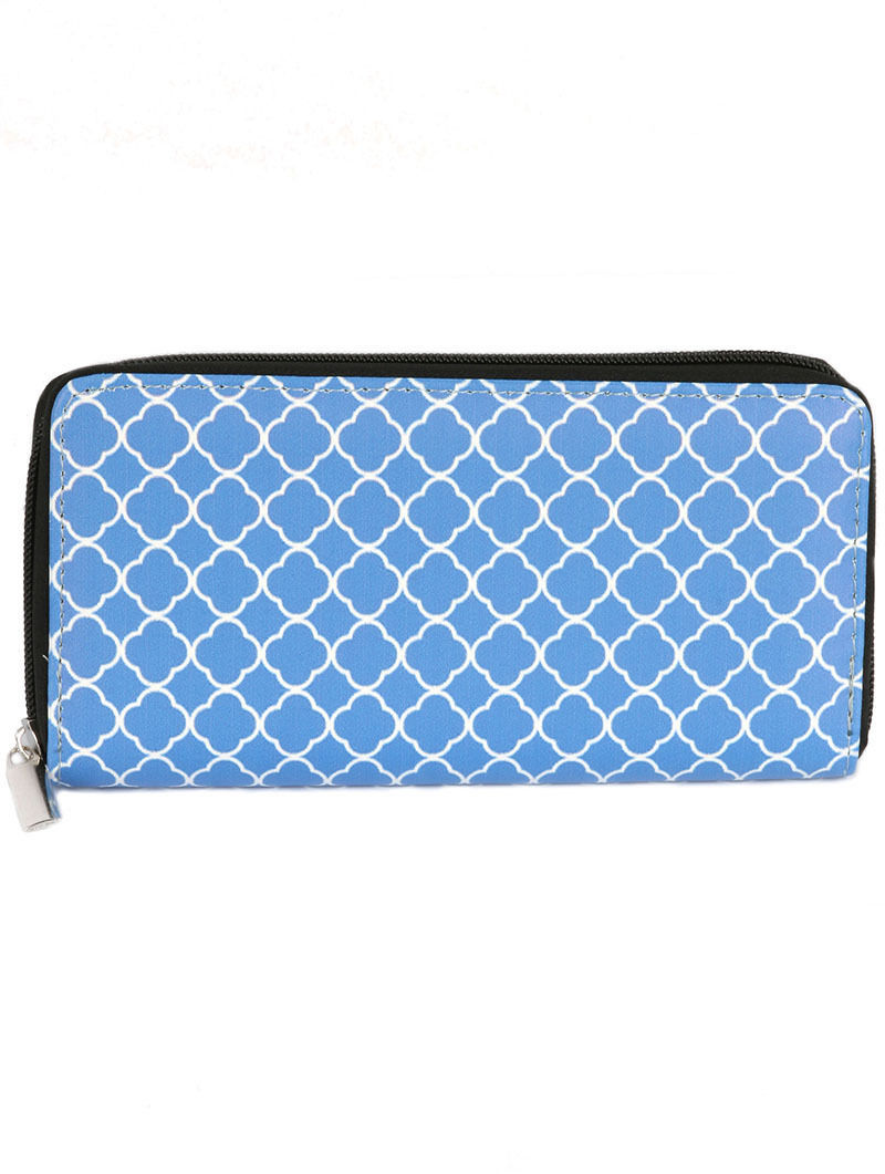 Quatrefoil Print Zip Around Wallet Clutch Purse Blue