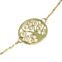 Mini Bracelet Yellow Gold 18k 750, Tree of Life, Central Perforated, 19 Cm image 2