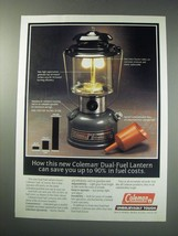 1991 Coleman Dual-Fuel Lantern Ad - Save 90% in Fuel Costs - $14.99