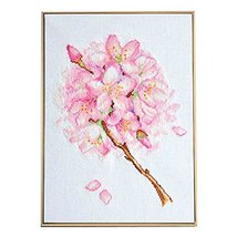 PANDA SUPERSTORE Pink Flower DIY Cross Stitch Stamped Kits Pre-Printed 11CT Embr