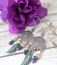 Boho Dangle Earrings, Silver Dangle Earrings, Feather Bead Earrings, Han... - $9.00