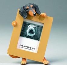 "DACHSHUND BLACK TAN DOG PHOTO PICTURE FRAME GIFT RESIN 2-1/2""X3-1/2"" - $14.95"