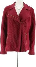 Isaac Mizrahi Quilted Knit Motorcycle Jacket Pckts Blck Raspberry XL NEW... - $41.56