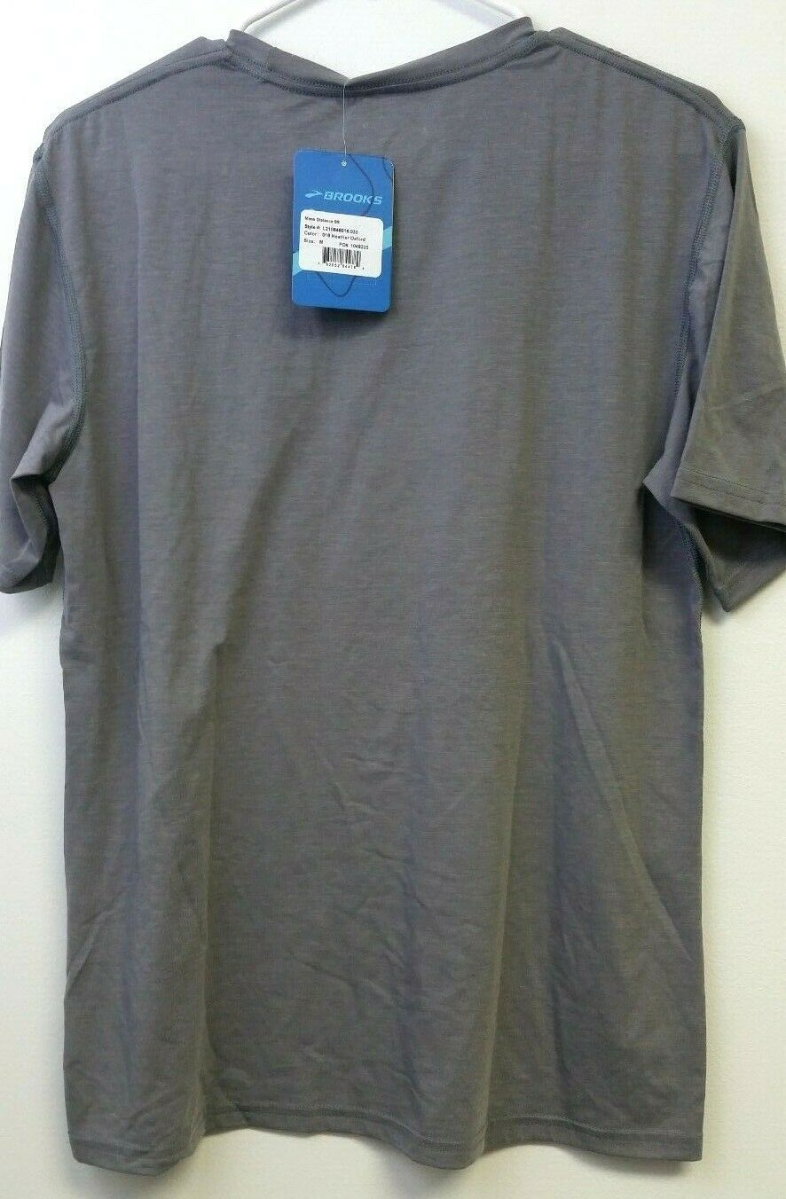 New Brooks Men's Distance SS - Size: M - Heather Oxford - Free Shipping