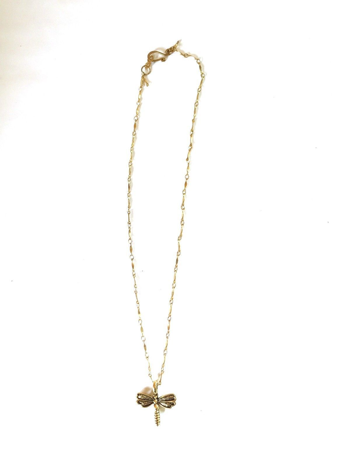 DragonFly Charm Necklace 16 inches Goldtone image 2