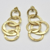 Drop Earrings Silver 925 Foil Gold Circles by Maria Ielpo Made in Italy image 2