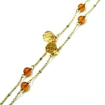"""18K YELLOW WHITE GOLD 20"""" 50cm NECKLACE CITRINE FACETED DROPS, AMBER, ROLO CHAIN image 2"""