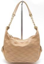 JUDITH LEIBER Leather Shoulder Bag Hobo Beige Gold-Tone HW Crystal Top Z... - $1,037.40
