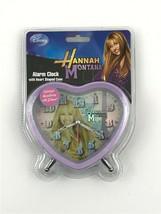 Hannah Montana Alarm Clock Purple Heart Shaped Case Glitter Accents Disney - $15.84