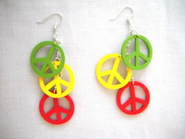 NEW GREEN - YELLOW - RED RASTA REGGAE WOODEN PEACE SIGN DANGLING CHAIN E... - $9.99