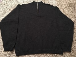 J Crew Mens Black Wool/Acrylic/Cotton 1/4 Zip Sweater, Size M - $28.79