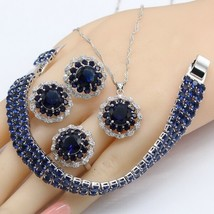 2018 New Dark Blue Crystal Silver Color Jewelry Sets For Women Stud Earr... - $29.62