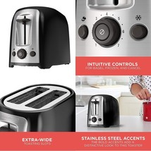 Black+Decker 2-Slice Extra Wide Slot Toaster, Classic Oval, Black With S... - $36.39
