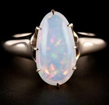 Vintage 1940s 14k Yellow Gold Oval Cabochon Cut Jelly Opal Solitaire Rin... - $1,970.00