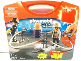 Playmobil #5973 Firemen Carrying Case NEW in Box Retired RARE Hard to Find - $14.49