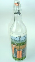 Vintage Ice Water Bottle Woman At Well Porcelain Stopper wire Top Cap - $19.79