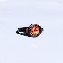 Leather ring with enamel decoration R07 - $15.00