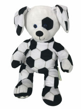 Build-A-Bear Soccer Ball Puppy Dog Plush Stuffed Animal Toy Black White ... - $29.69