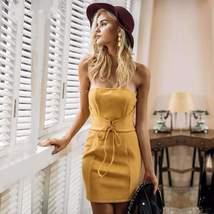 Elegant Strapless Suede Tie Up Bodycon Dress - $33.58