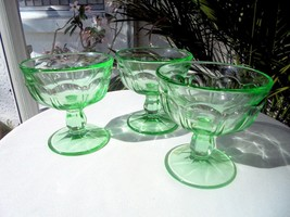 Set of 3 Vaseline Glass Green Sherbet Champagne Glasses c 1930's - $26.72