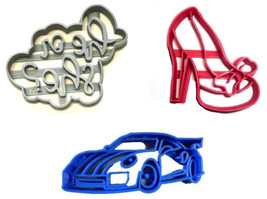 Wheels Or Heels Gender Reveal Baby Shower Set Of 3 Cookie Cutters USA PR... - $7.99