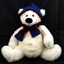 "Dan Dee Collectors Choice Plush White Winter Teddy Bear w/ Scarf and Hat 16"" - $12.42"