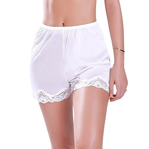 Ilusion Women's Nylon Daywear Bloomer Slip Pants with Lace Trim 1039 (Large, Whi