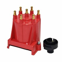 GM 90° V6 262 ci 4.3 6-Cylinder TBI EFI Distributor Cap & Rotor Kit Red Chevy image 2