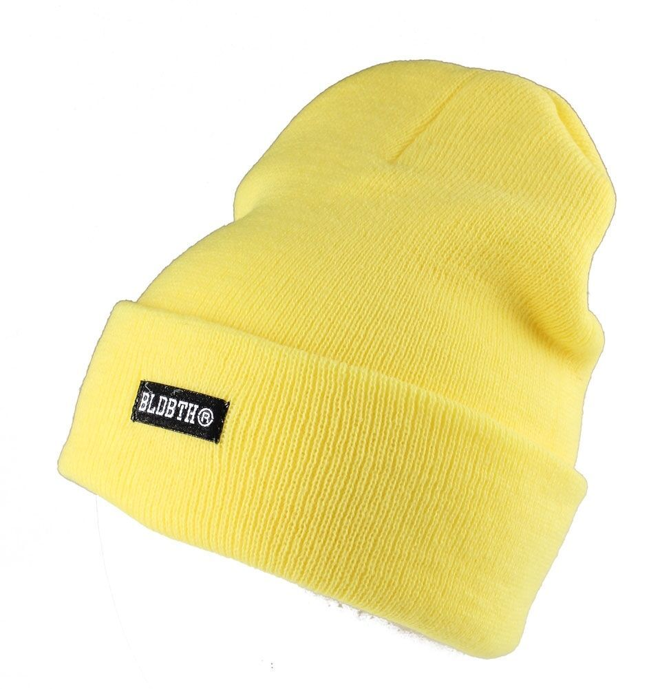 Bloodbath Project BLDBTH Safety Yellow Knit Beanie Winter Skull Cap Hat