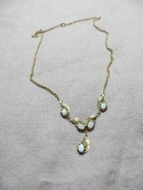 Antq. Victorian /Art Deco 10K Gold Rolled  w/Opal Stones Lavaliere Neckl... - $169.99
