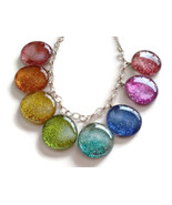Rainbow Glitter Glass Necklace With Silver Plated Chain - $9.70