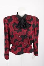 Vtg Richard Warren Women Petite Silk Jacket Blazer Sz 10 Black Red Ascot... - $39.59