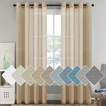 H.VERSAILTEX Bedroom Curtains Natural Linen Sheer Curtains 96 inches Lon... - $54.81