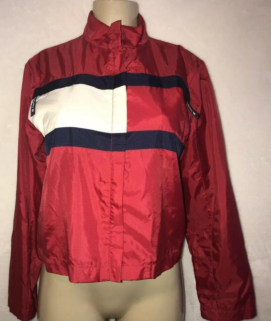 Vintage 90s TOMMY Jeans  HILFIGER Big Flag Logo Nylon Crop Jacket Colorblock S