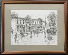 VINTAGE LESLIE COPE DRAWING PRINT DRESDEN ALL AMERICAN HOMETOWN COCA COL... - $34.25