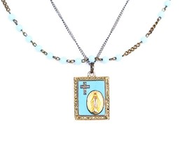Vintage Miraculous Mary medal pendant with turquoise glass and marcasite... - $64.99