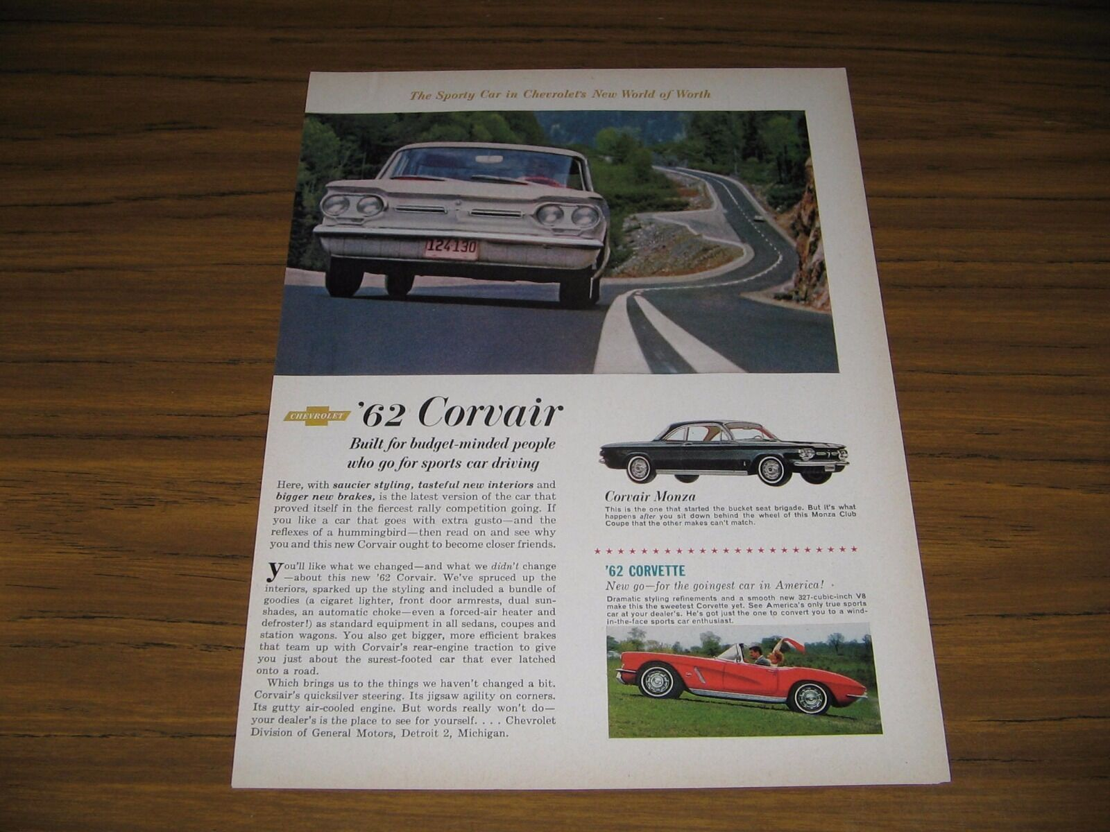Primary image for 1961 Print Ad The 1962 Chevrolet Corvair Monza & Chevy Corvette