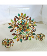 "Outstanding Atomic Star Burst 4.25"" Pin Brooch & Earring Set Topaz Green... - $116.10"