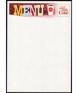 Vintage menu COCA COLA cup and stars pictured things go better with Coke... - $8.99