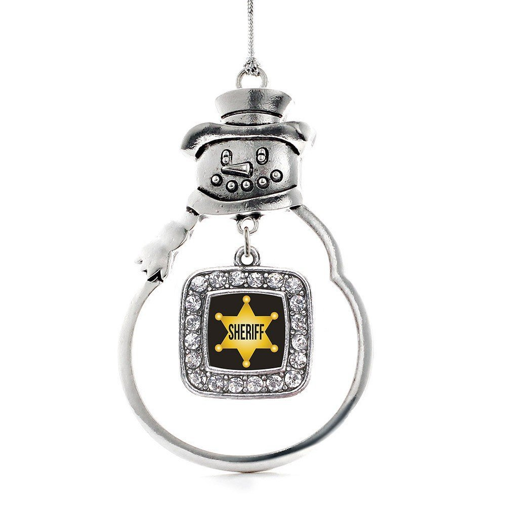 Inspired Silver Sheriff Classic Snowman Holiday Ornament - $14.69