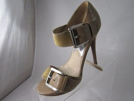 "Michael KORS Size 6 M Tan Buckle open toe stiletto 4.5"" heel Shoes Women  - $46.39"
