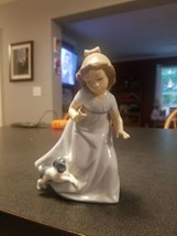 Lladro NAO Girl Running with Dog / Puppy Figurine 1987  Retired - $49.50