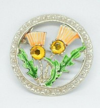 Hollywood  Enamel Rhinestone Scottish Thistle Flower Brooch Kilt Pin Vintage - $29.69